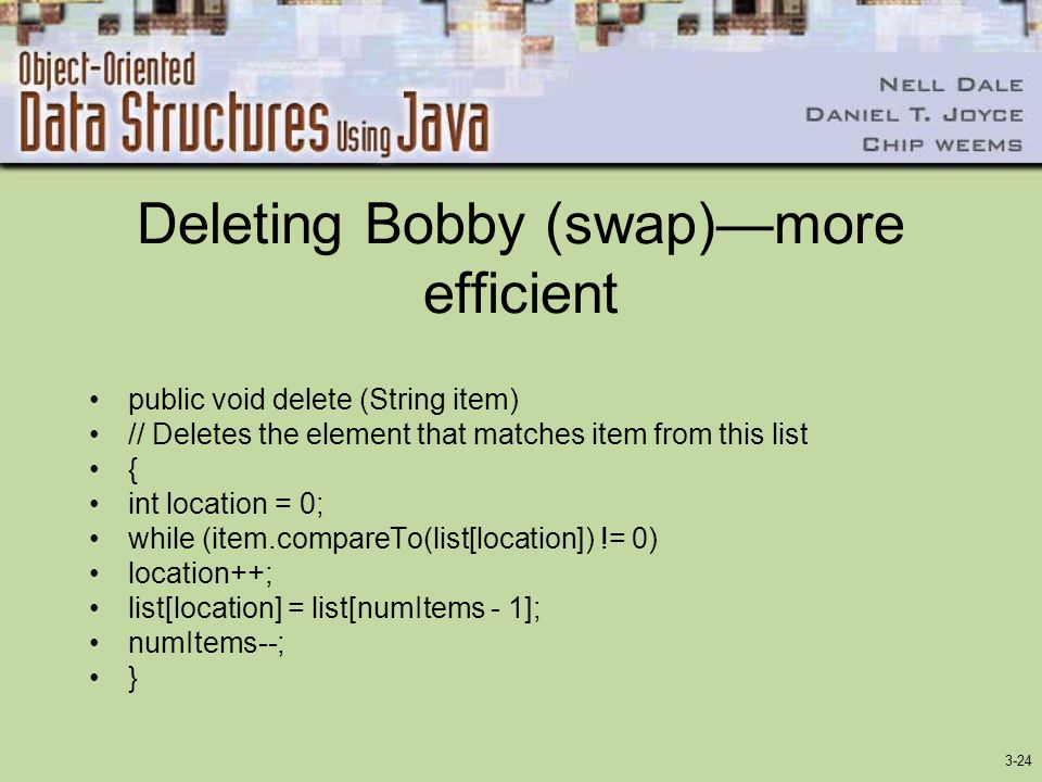 Deleting Bobby (swap)—more efficient