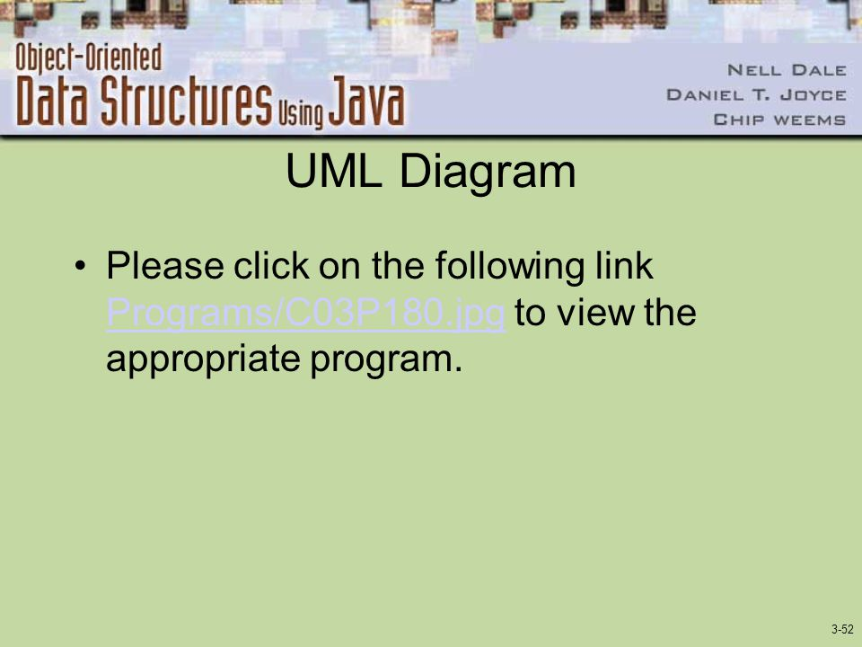 UML Diagram Please click on the following link Programs/C03P180.jpg to view the appropriate program.