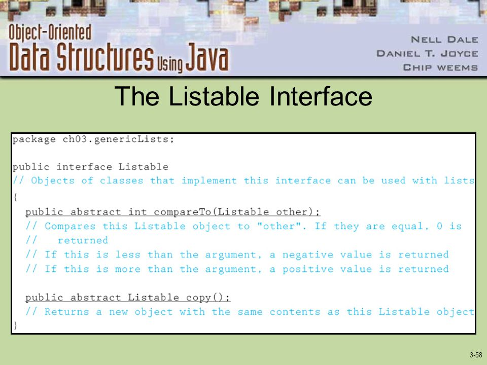 The Listable Interface