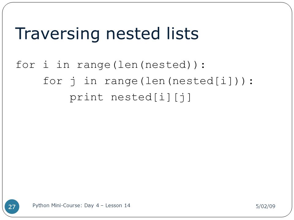 Traversing nested lists