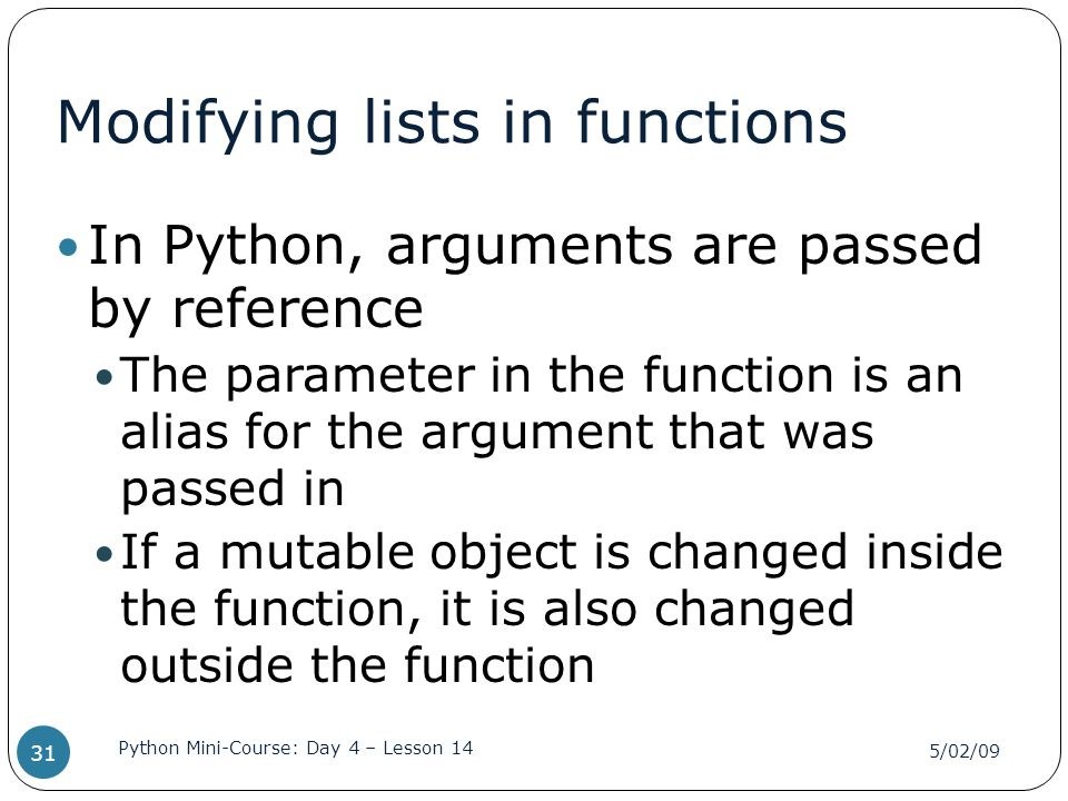 Modifying lists in functions