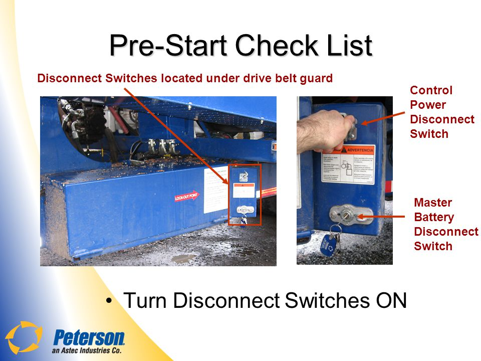 Pre-Start Check List Turn Disconnect Switches ON
