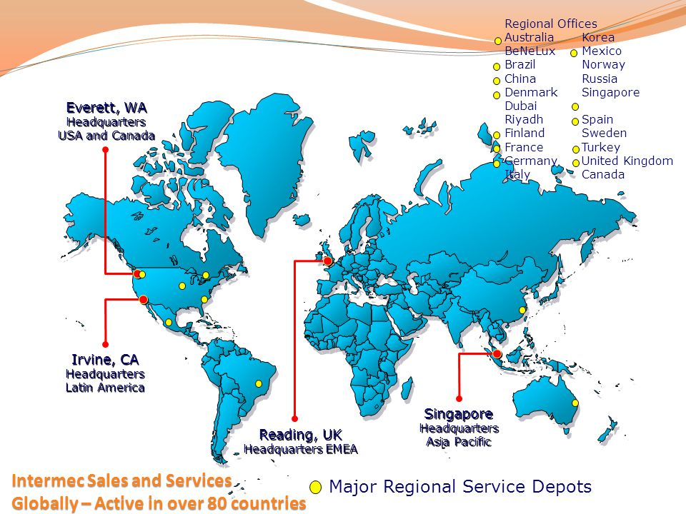 Intermec Sales and Services Globally – Active in over 80 countries