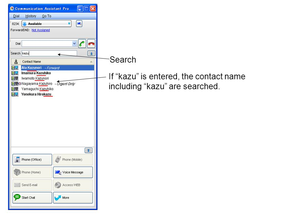 Search If kazu is entered, the contact name including kazu are searched.
