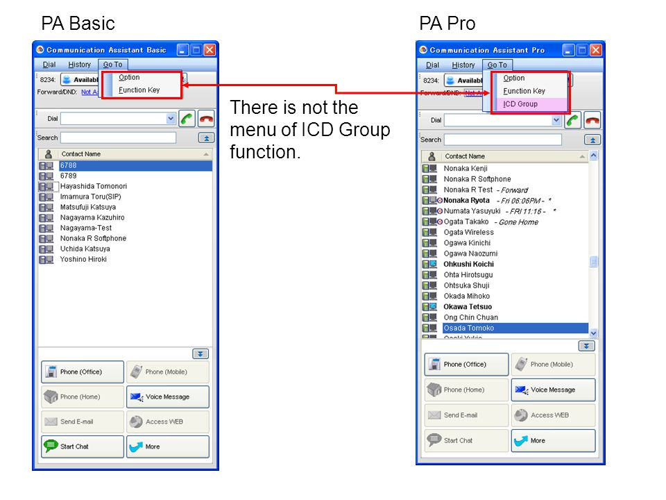 PA Basic PA Pro There is not the menu of ICD Group function.