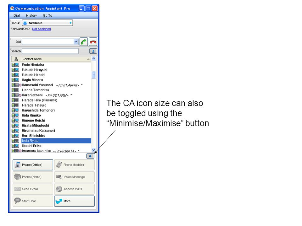 The CA icon size can also be toggled using the Minimise/Maximise button