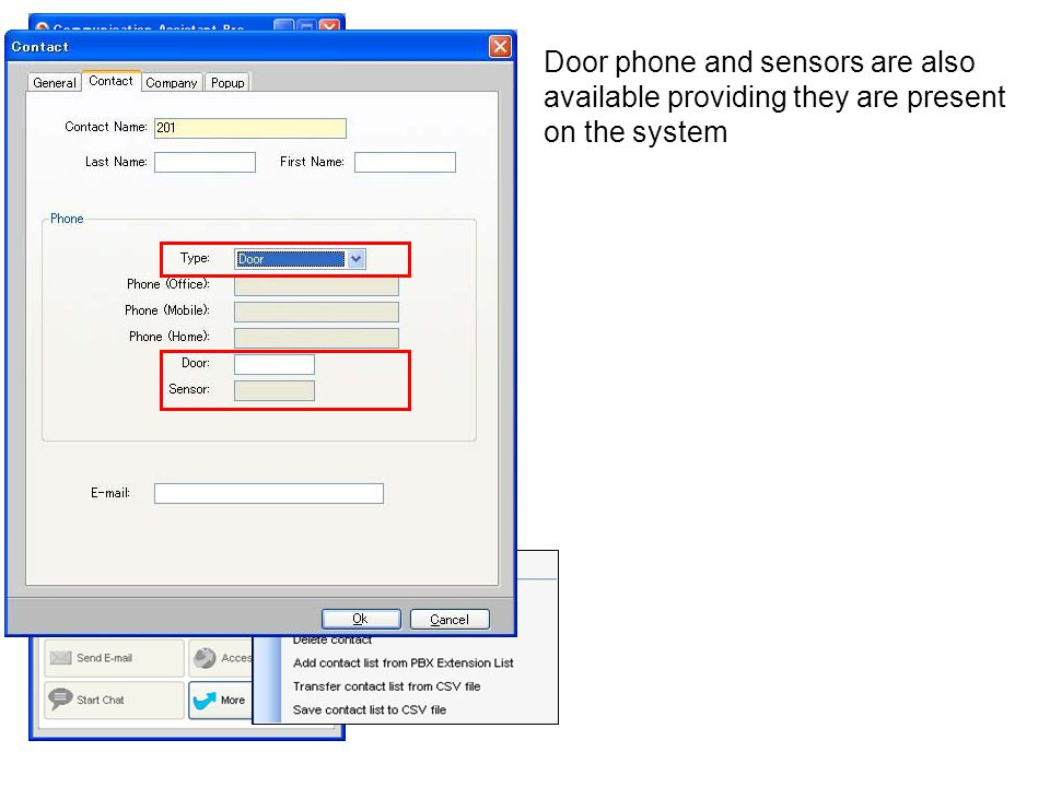 Door phone and sensors are also available providing they are present on the system