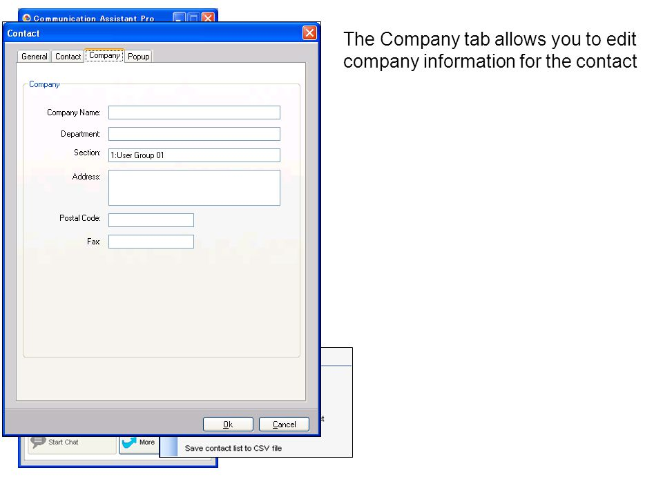 The Company tab allows you to edit company information for the contact