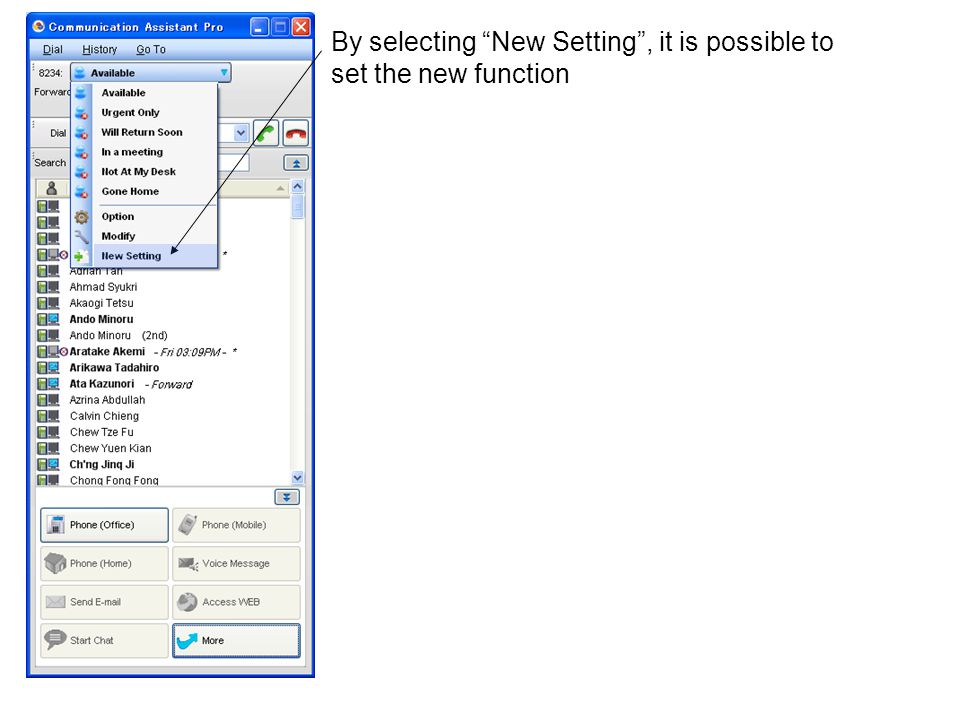 By selecting New Setting , it is possible to set the new function
