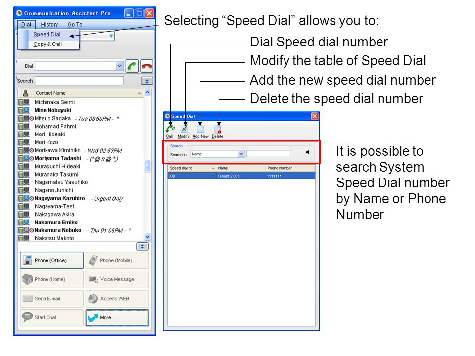 Selecting Speed Dial allows you to: