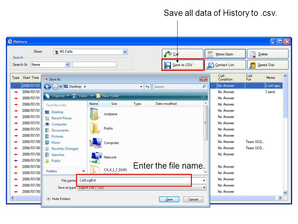Save all data of History to .csv.