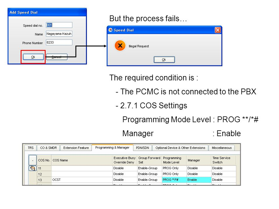 But the process fails… The required condition is : - The PCMC is not connected to the PBX. - 2.7.1 COS Settings.