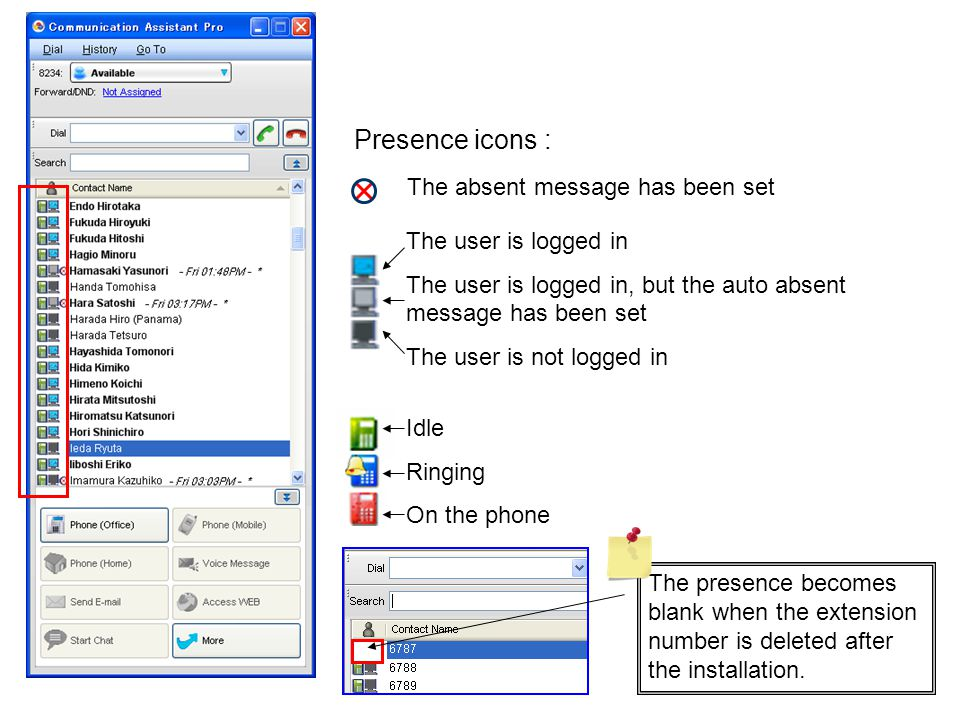 Presence icons : The absent message has been set The user is logged in