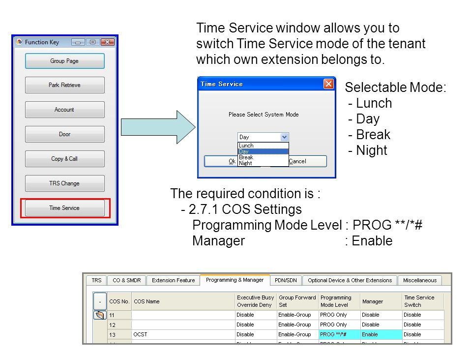 Time Service window allows you to