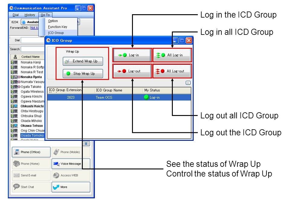 Log in the ICD Group Log in all ICD Group. See the status of Wrap Up. Control the status of Wrap Up.