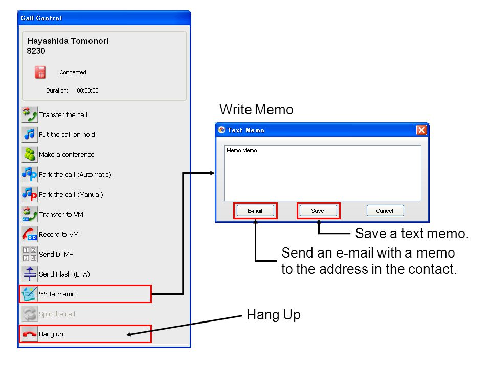 Write Memo Save a text memo. Send an e-mail with a memo to the address in the contact. Hang Up