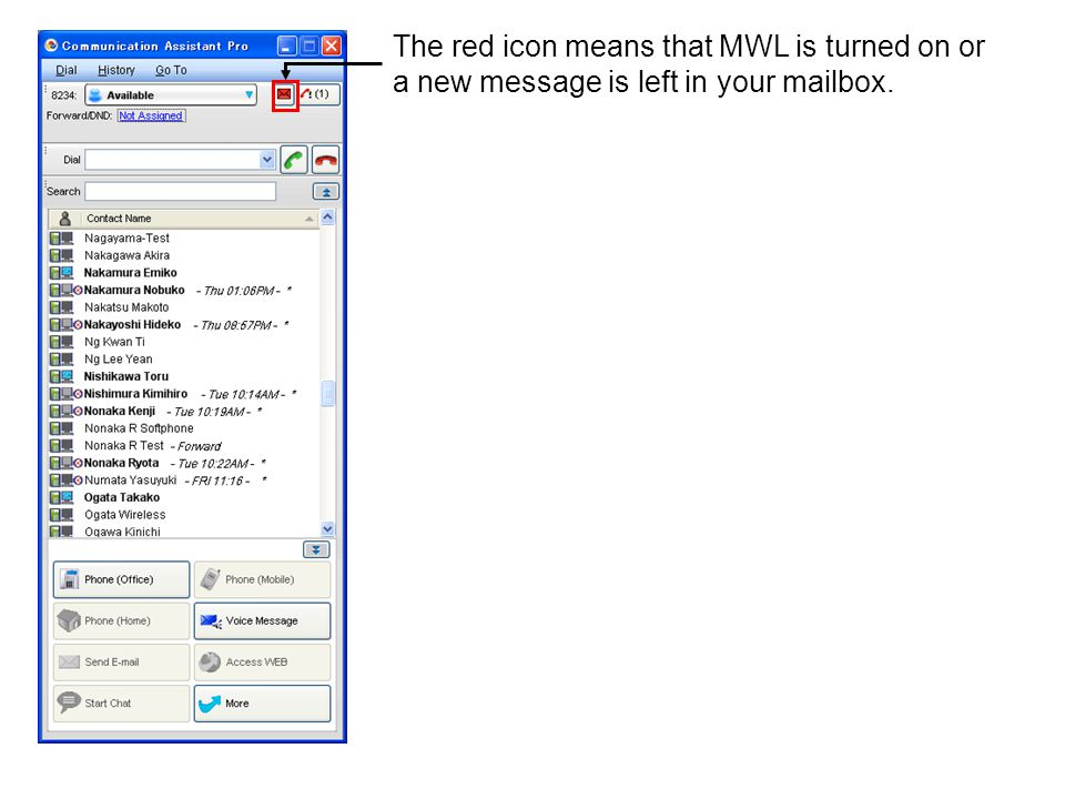 The red icon means that MWL is turned on or a new message is left in your mailbox.