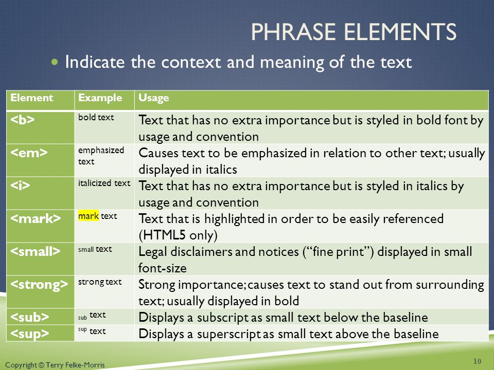 Phrase Elements Indicate the context and meaning of the text <b>