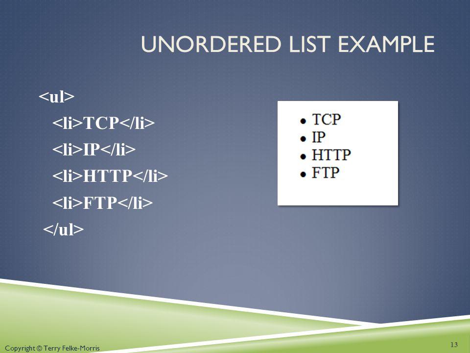 Unordered List Example