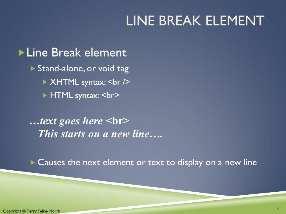 Line Break Element Line Break element