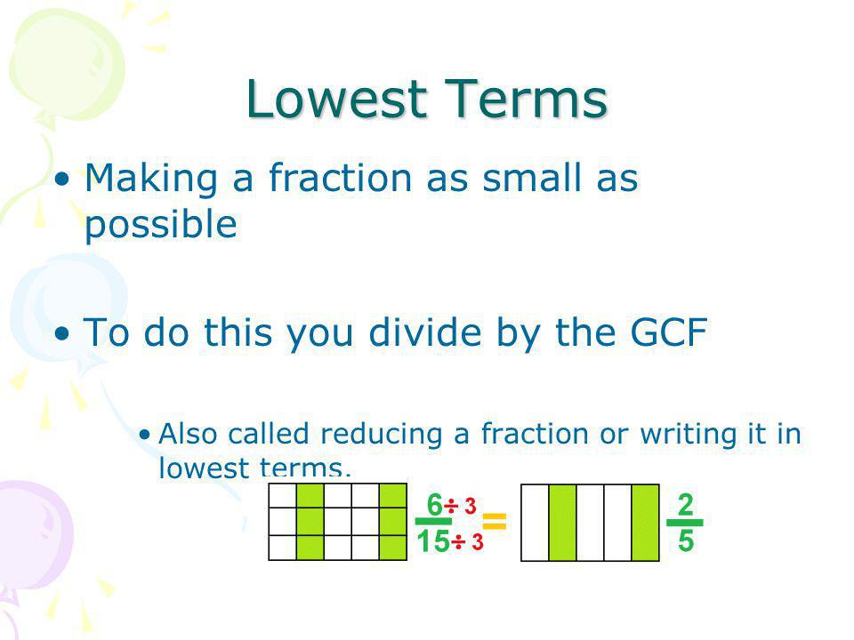 Lowest Terms Making a fraction as small as possible