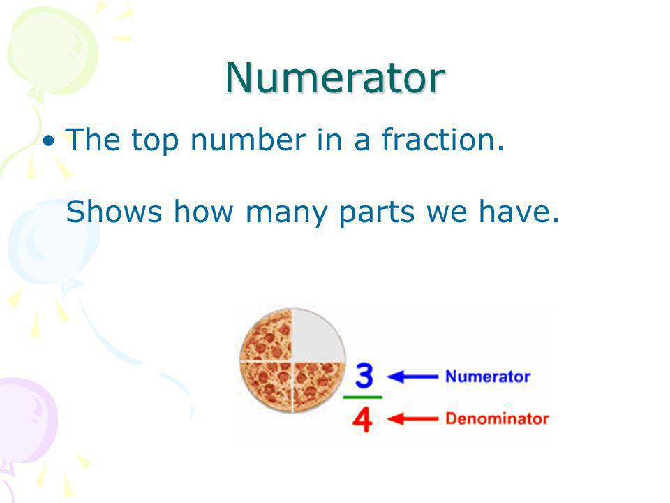 Numerator The top number in a fraction. Shows how many parts we have.