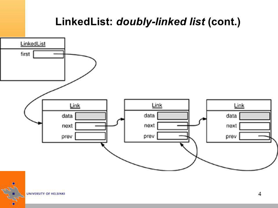 LinkedList: doubly-linked list (cont.)