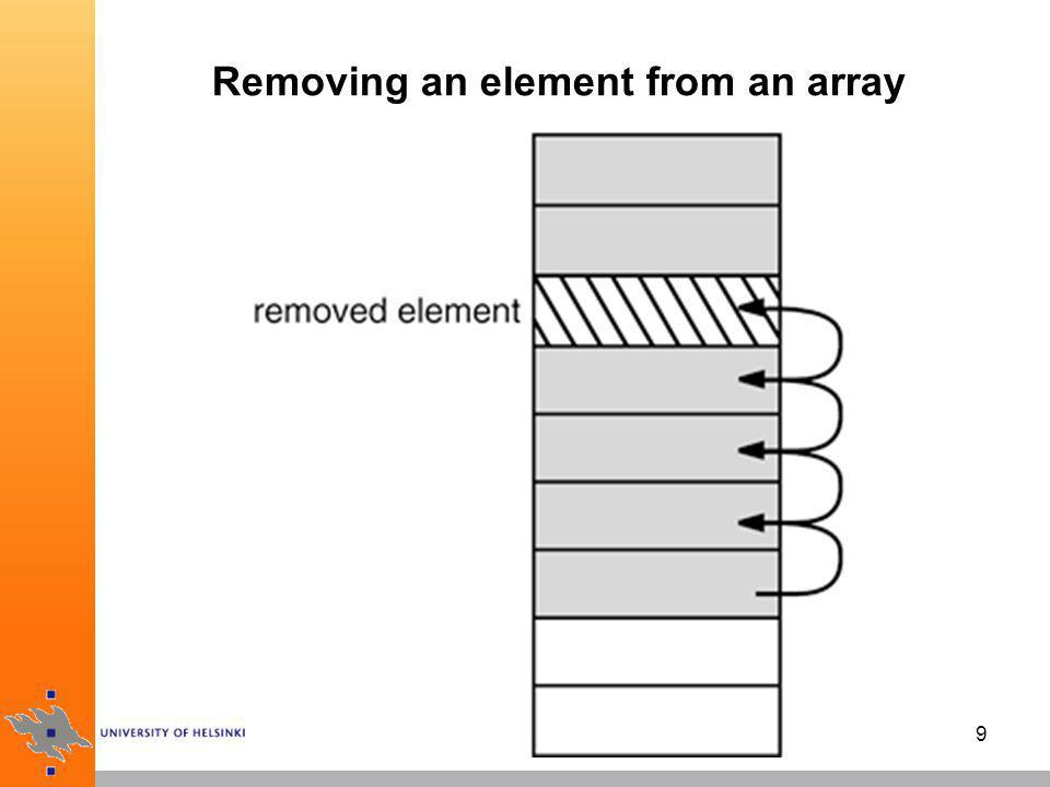 Removing an element from an array