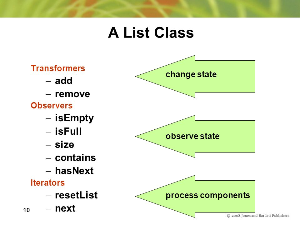 A List Class add remove isEmpty isFull size contains hasNext resetList