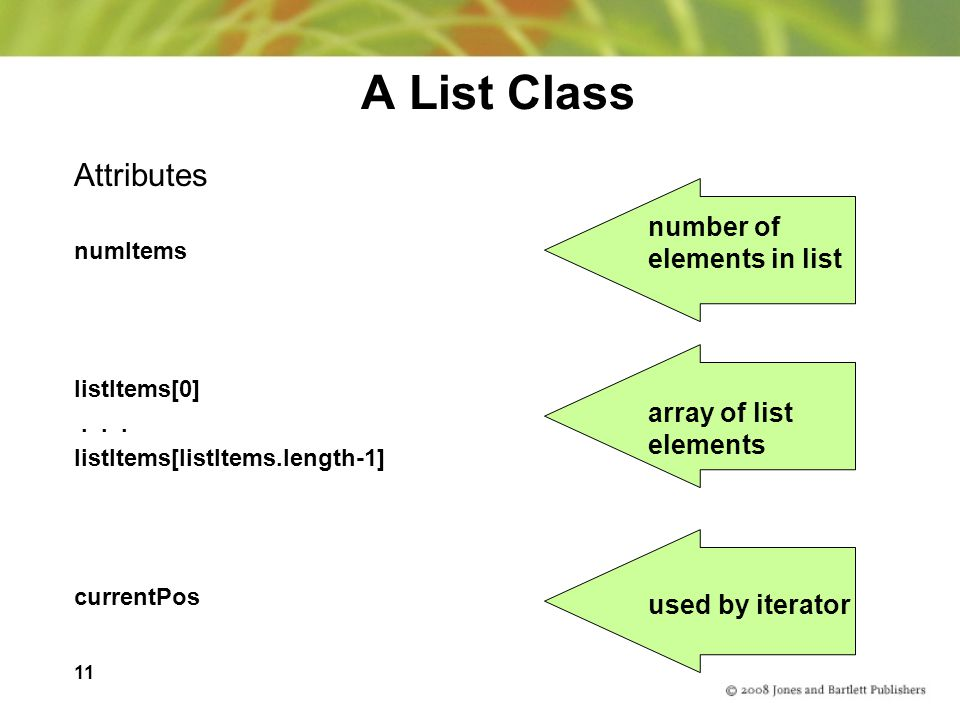 A List Class Attributes number of elements in list