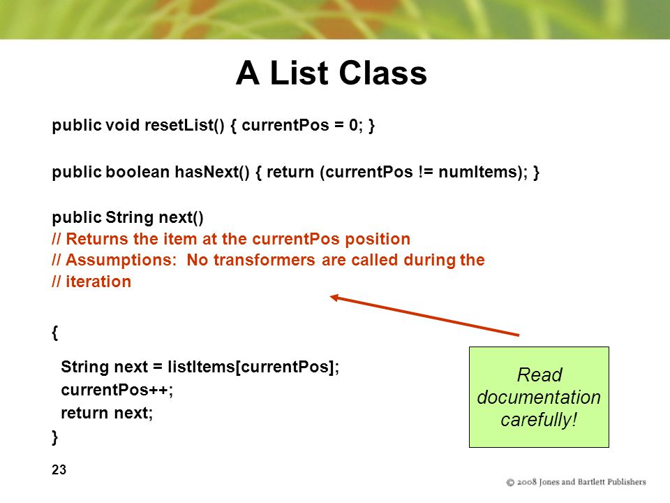 A List Class Read documentation carefully!