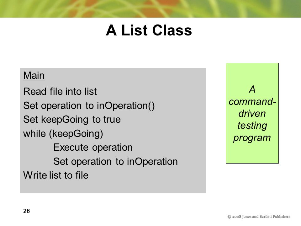 A List Class Main A Read file into list command-