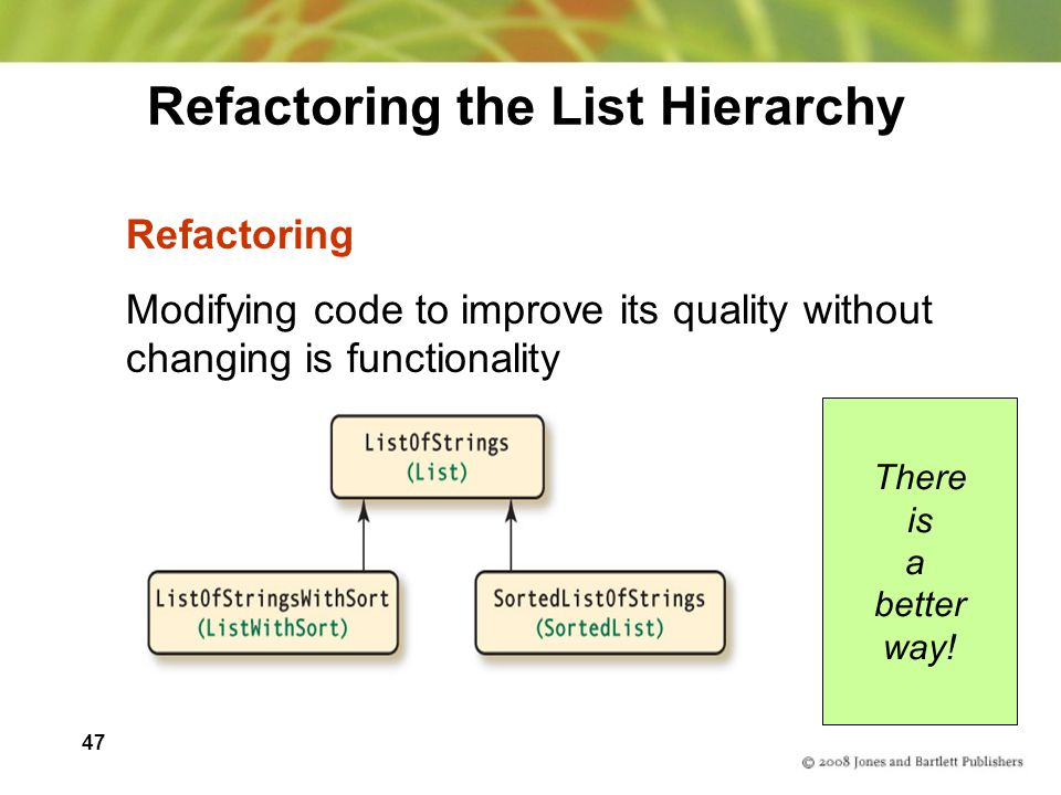 Refactoring the List Hierarchy