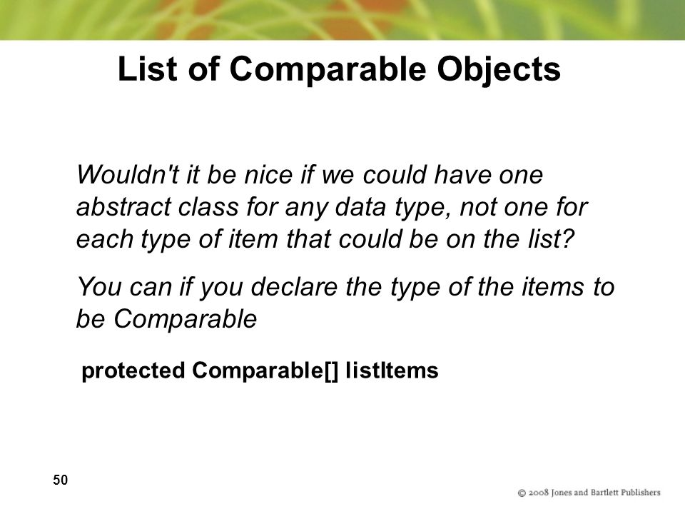 List of Comparable Objects
