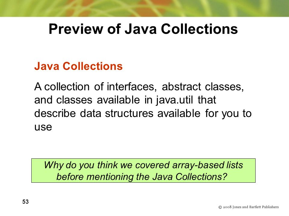 Preview of Java Collections