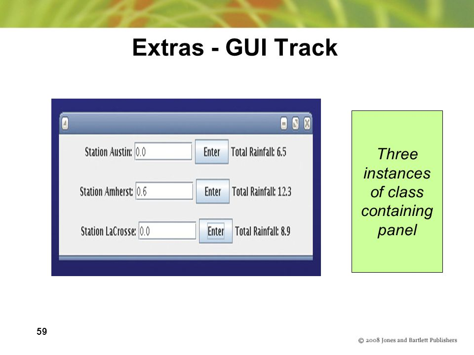 Extras - GUI Track Three instances of class containing panel