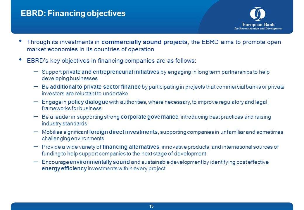 EBRD: Financing objectives