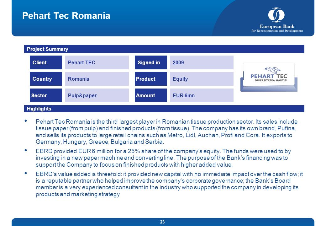 Pehart Tec RomaniaProject Summary. Client. Pehart TEC. Signed in. 2009. Country. Romania. Product. Equity.
