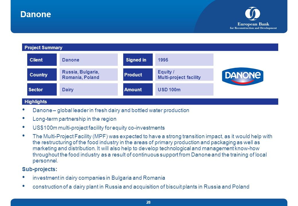 DanoneProject Summary. Client. Danone. Signed in. 1995. Country. Russia, Bulgaria, Romania, Poland.