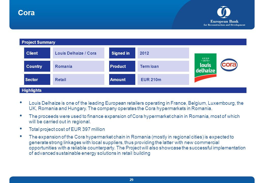 CoraProject Summary. Client. Louis Delhaize / Cora. Signed in. 2012. Country. Romania. Product. Term loan.