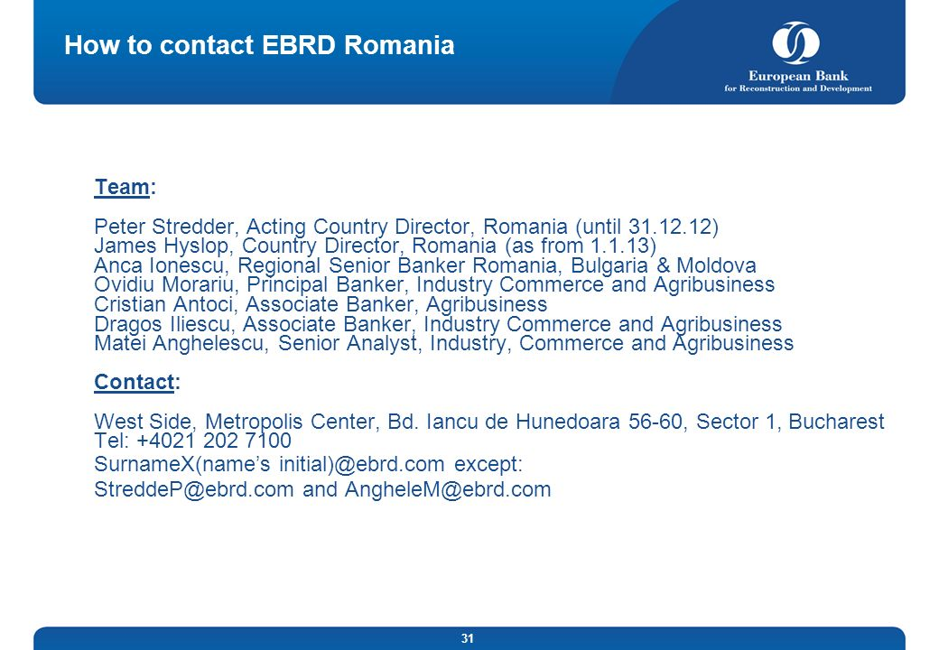 How to contact EBRD Romania