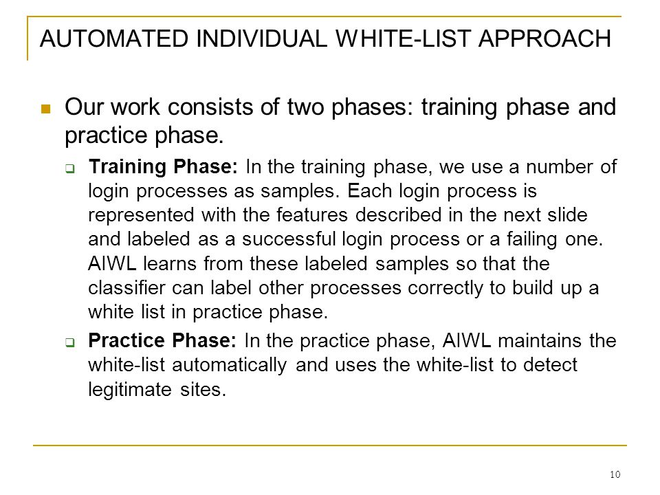 AUTOMATED INDIVIDUAL WHITE-LIST APPROACH
