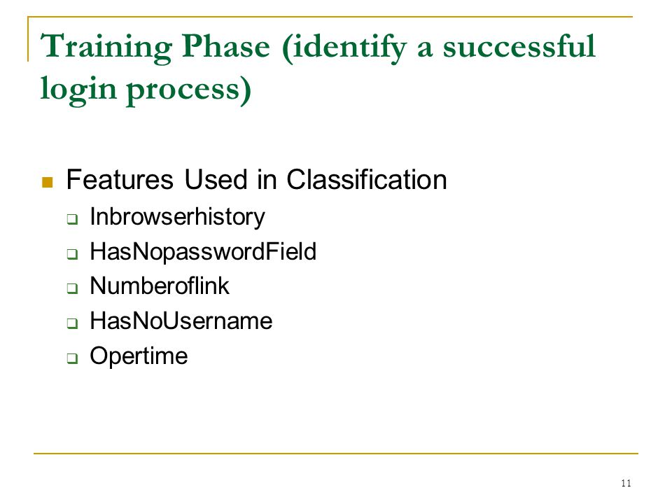 Training Phase (identify a successful login process)