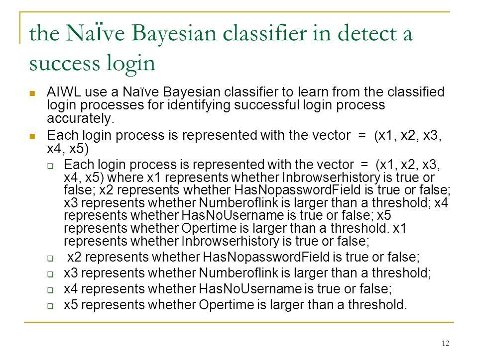the Naïve Bayesian classifier in detect a success login