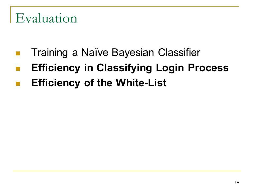 Evaluation Training a Naïve Bayesian Classifier