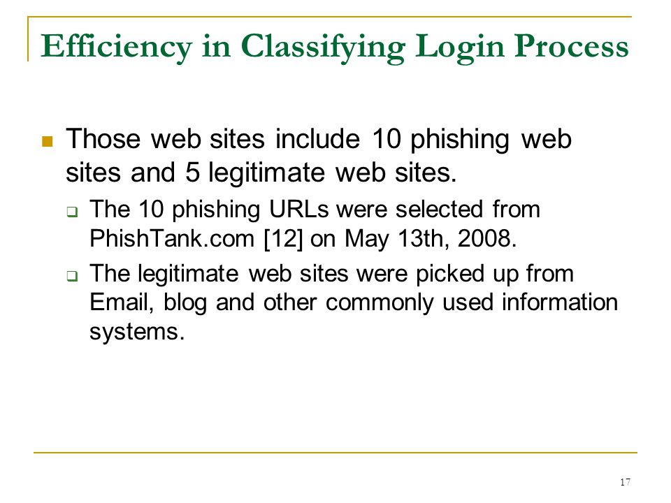 Efficiency in Classifying Login Process