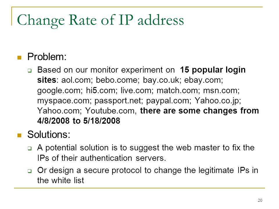 Change Rate of IP address