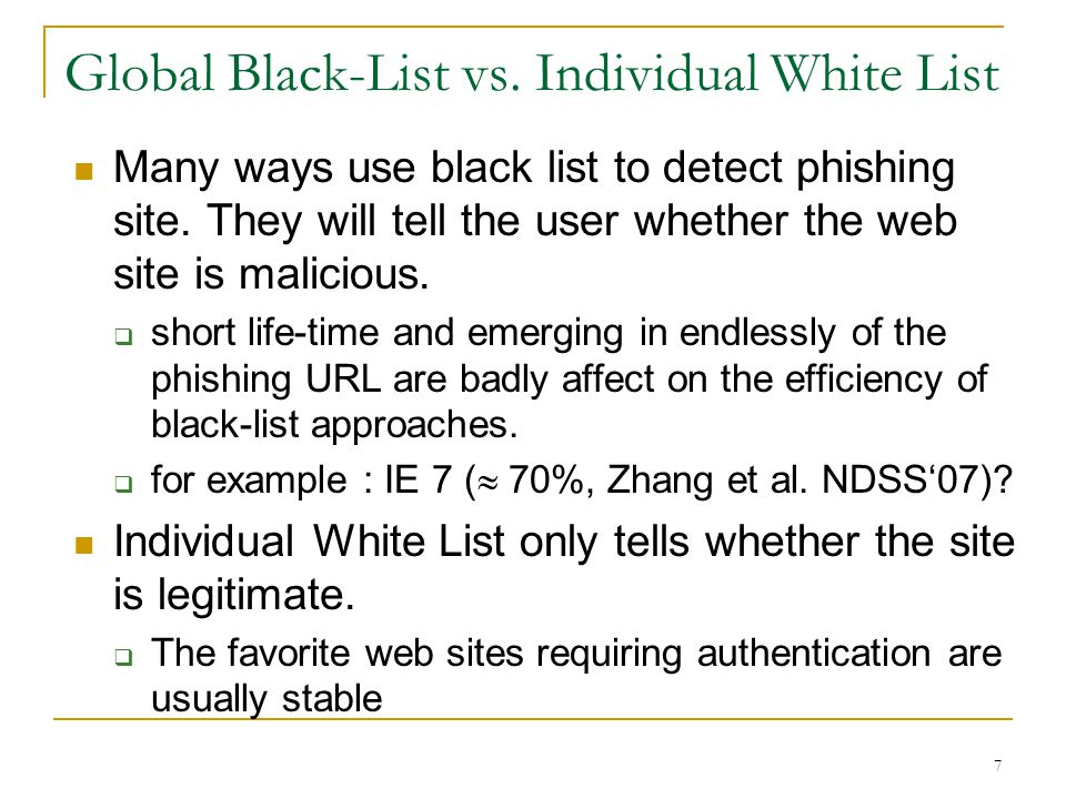 Global Black-List vs. Individual White List