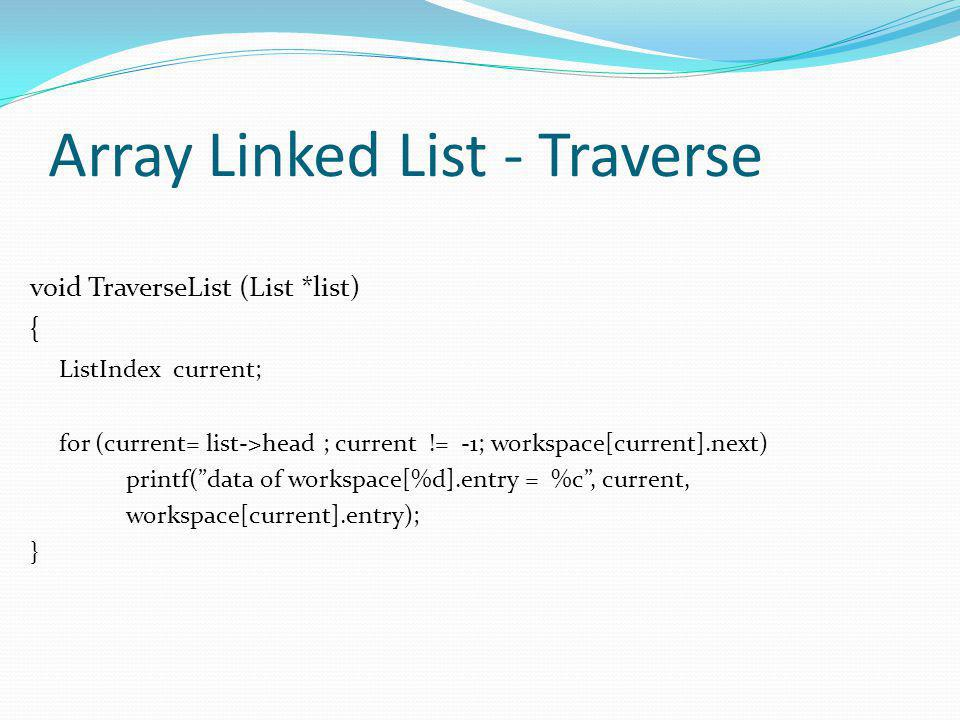 Array Linked List - Traverse