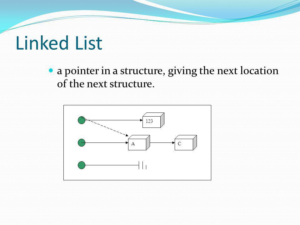 Linked List a pointer in a structure, giving the next location of the next structure. 123 A C